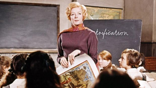 English actress Maggie Smith as Jean Brodie in a classroom scene from 'The Prime Of Miss Jean Brodie', directed by Ronald Neame, 1969. Photograph: Silver Screen Collection/Getty Images