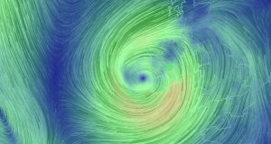 Stormy weather:  Ophelia pictured as the storm was about to hit Ireland last year