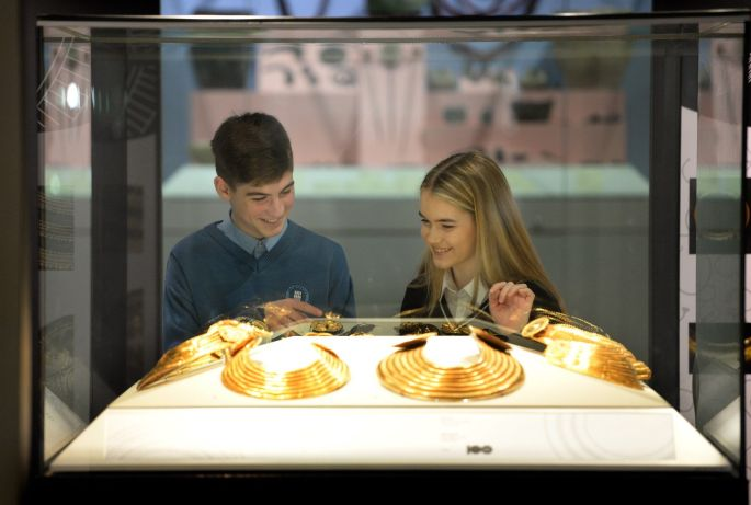 GOLDEN BRONZE: Daragh Rice and Cian Kavanagh, both transition year students from Kilkenny, viewing the Bronze Age Gold exhibition at the launch of the Irish programme for the European Year of Cultural Heritage 2018 in the National Museum of Ireland, Kildare Street, Dublin. Photograph: Dara Mac Donaill/The Irish Times