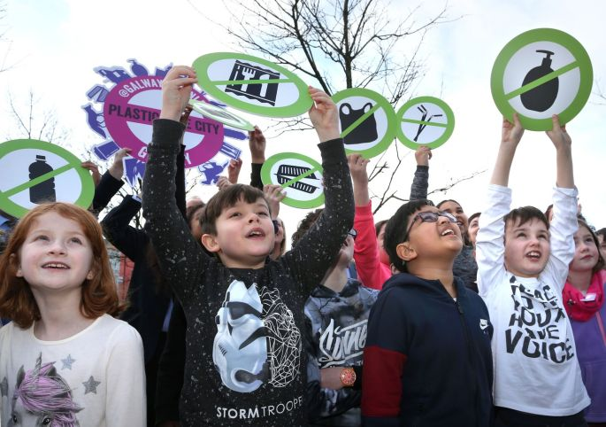 PLASTIC IS DRASTIC: Pupils from St Nicholas' Parochial School in Galway spread their environmental message at Eyre Square at the launch of Galway Plastic-Free Week. Photograph: Joe O'Shaughnessy