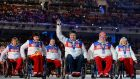 Russia's delegation attending the closing ceremony of the XI Paralympic Olympic games in  Sochi in 2014. Photograph: Kirill Kudryavtsev/AFP/Getty