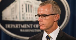 Andrew McCabe, deputy director of the FBI, announced on Monday that he is  retiring two months early. President  Donald Trump has consistently singled out Mr McCabe, accusing him of a pro-Clinton bias. Photograph:  Jim L Scalzo/EPA