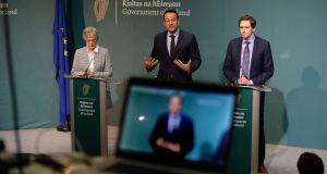 Taoiseach Leo Varadkar (centre), Minister for Children Katherine Zappone and  Minister for Health Simon Harris at a press conference following the Cabinet debate on a referendum on the Eighth Amendment to the Constitution, at Government Buildings tonight. Photograph: Cyril Byrne/The Irish Times