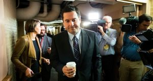 Chairman of the House Intelligence Committee Devin Nunes walks past reporters on Capitol Hill in Washington. Republicans on the committee have voted to release a contentious secret memorandum said to accuse the  FBI of misusing their authority. Photograph: New York Times