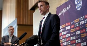 New England head coach Phil Neville speaks to the media during his official unveiling at St George's Park, Burton. Photo: Nick Potts/PA Wire