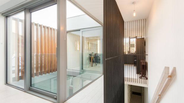 244 Merrion Road, Dublin 4: A new staircase surrounded by black slats – an ODOS signature – leads to the garden level