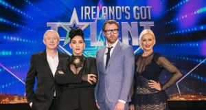Judges (L to R) Louis Walsh, Michelle Visage, Jason Byrne, and Denise van Outen