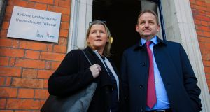 Maurice McCabe and his wife Lorraine at the Charleton Tribunal in Dublin Castle. Photograph:  Collins