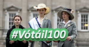 Evelyn O'Keeffe, Meg O'Brien and Megan O'Malley   of the Gaiety School of Acting  launching the Oireachtas Vótáil100 programme of events commemorating 100 years of suffrage. Photograph: Jason Clarke.