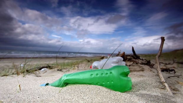 Plastic bottles and rubbish washed up by the sea on a beach in Prestwick, Scotland. Photograph: Christopher Furlong/Getty Images