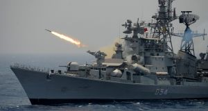 A rocket is fired from the Indian Navy destroyer ship INS Ranvir during an exercise drill in the Bay Of Bengal off the coast of Chennai on April 18th, 2017. Photograph: Arun Sankar/AFP/Getty Images