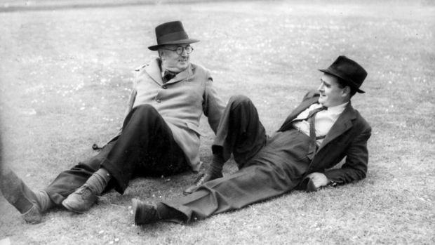 Civil-service writer: Brian O'Nolan (right), aka Flann O'Brien and Myles na gCopaleen, with the writer, playwright and National Gallery of Ireland registrar John Weldon, aka Brinsley MacNamara