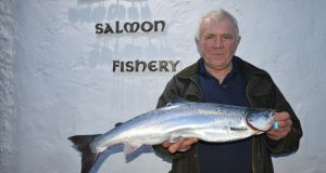 Bill Likely pictured with the first salmon of 2018 in Ireland which was caught on Tuesday in Co Leitrim.
