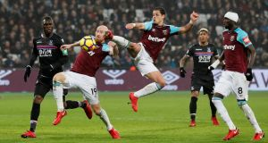 West Ham's Javier Hernandez shoots at goal during the Premier League game against Crystal Palace at London Stadium. Photograph: David Klein/Reuters