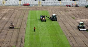 Pitch removal work at Croke Park in 2011. Photograph:  Lorraine O'Sullivan/Inpho