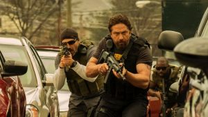 Suspend your disbelief: Maurice Compte and Gerard Butler  in Den of Thieves. Photograph: STXfilms