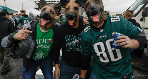 80c50bcf2d5 Philadelphia Eagles fans wear their underdog heads before the start off the  NFC Championship game between
