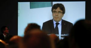 Former Catalan president Carles Puigdemont: messages appear to say he is withdrawing from politics to concentrate on his legal affairs.  Photograph: Yves Herman/Reuters