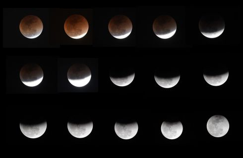"COMPLEX ECLIPSE: A composite image of pictures taken in Islamabad on January 31st, 2018 shows the moon during the ""super blue blood moon"". Skywatchers were hoping to personally witness a rare lunar eclipse  combining three unusual events - a blue moon, a super moon and a total eclipse - resulting in a large crimson moon. Photograph: Amir Qureshi/AFP/Getty Images"