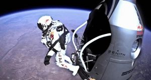 Felix Baumgartner jumping from space and free-falling to Earth in the Red Bull Stratos campaign