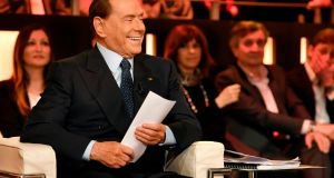 Silvio Berlusconi, former Italian prime minister and founder of Forza Italia, on an Italian TV show in  January. Photograph: Getty Images