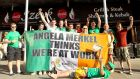 Republic of Ireland fans in  Gdansk, Poland, for Euro 2012, with a bailout message for German chancellor Angela Merkel. Photograph: James Crombie/Inpho