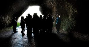 Tourists at the Cushendun caves in Co Antrim, on a 'Game of Thrones' tour. Photograph: Mark Marlow/Pacemaker