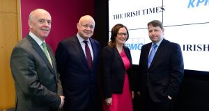 At the launch of The Irish Times KPMG Business Awards for 2018 are Liam Kavanagh, managing director The Irish Times, Shaun Murphy, managing partner KPMG, Carmel Logan, tax partner KPMG and Ciarán Hancock, business editor The Irish Times. Photograph: Cyril Byrne