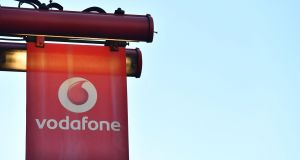 The logo of British mobile phone giant Vodafone outside one of its shops in central London. Photograph: Ben Stansall/AFP/Getty Images