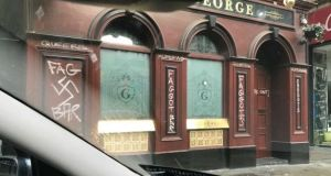 Graffiti on the front of the George Bar in Dublin last May. Photograph: Gary Shaw via Twitter