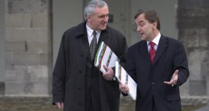 Former taoiseach Bertie Ahern and Martin Cullen, then minister for the environment and local government, at the launch of the National Spatial Strategy in 2002. Photograph: Brenda Fitzsimons