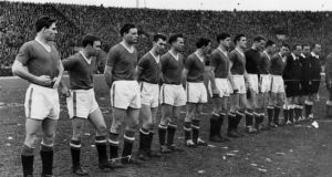 Manchester United line up before their 1958 European Cup quarter-final second leg against Red Star Belgrade. Photograph: Inpho/Getty