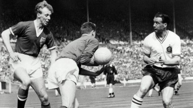 Harry Gregg in action for Manchester United during the 1958 FA Cup final. Photograph: Inpho