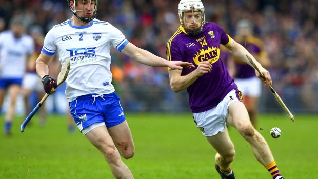 David Dunne of Wexford in action against Conor Gleeson of Waterford at last weekend's Allianz Hurling League clash at Waterford's Walsh Park. Photograph: Ken Sutton/Inpho
