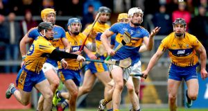 Clare's Ian Galvin, Shane O'Donnell and John Conlon with Ronan Maher of Tipperary in last week's Allianz Hurling League match at Cusack Park in Ennis. Photograph: James Crombie/Inpho