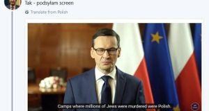 Screen grab of Polish prime minister Mateusz Morawiecki speaking on his YouTube channel. English subtitles show him saying camps where millions of Jews were murdered in the second World were Polish.
