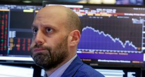 Specialist Meric Greenbaum  on the floor of the New York Stock Exchange, Friday, February 2nd, 2018. The stock market closed sharply lower, extending a weeklong slide, as the Dow Jones industrial average plunged more than 600 points. Photograph: AP Photo/Richard Drew