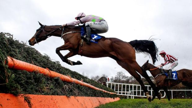 David Mullins riding Min clears the last to win The Coral Dublin Steeplechase at Leopardstown in Dublin, Ireland. Photo: Alan Crowhurst/Getty Images