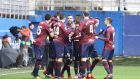 Eibar's players celebrate scoring during the Spanish Primera Division   match against  Sevilla  at Ipurua stadium in Eibar. Photograph: Gorka Estrada/EPA