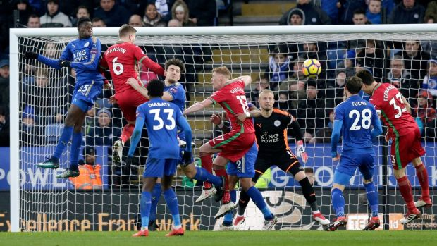 Federico Fernandez scores Swansea City's equaliser in the Premier League game against Leicester City at The King Power Stadium. Photograph: Henry Browne/Getty Images