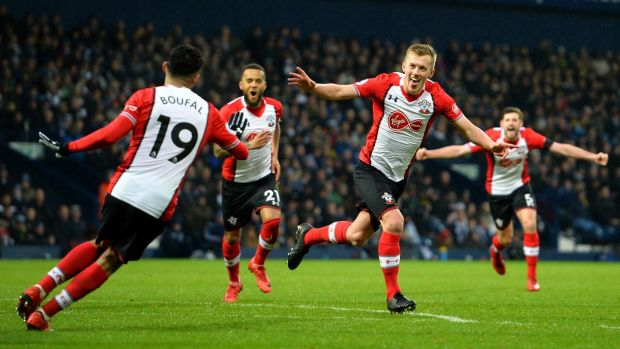 James Ward-Prowse of Southampton celebrates scoring his side's third goal with team-mates during the Premier League match against West Brom at The Hawthorns. Photograph: Tony Marshall/Getty Images