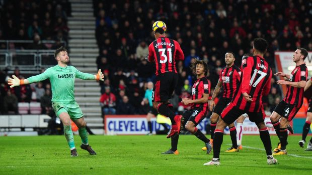 Lys Mousset scores Bournemouth's second goal during the Premier League match against Stoke City at Vitality Stadium. Photograph: Harry Trump/Getty Images
