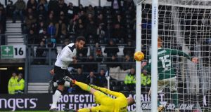 Tom Huddlestone scores  Derby County's  first goal  during the Sky Bet Championship match against  Brentford at iPro Stadium. Photograph: Nathan Stirk/Getty Images