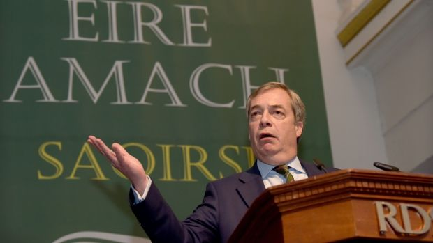 """It is incumbent now upon you to organise, to mobilise, and put up candidates and fight those European elections in just 15 months,"" Nigel Farage told an Irexit conference in Dublin. Photograph: Bryan Meade"