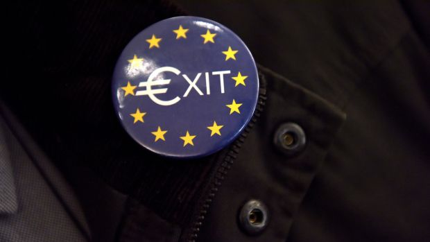 A European Union exit badge on display in the RDS Dublin. Photograph: Bryan Meade