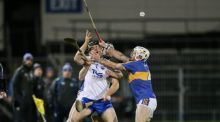 Tipperary's Brendan Maher and Seán O'Brien tackle Kevin Moran of Waterford during the Allianz Hurling League Division 1A game at  Semple Stadium. Photograph: Cathal Noonan/Inpho