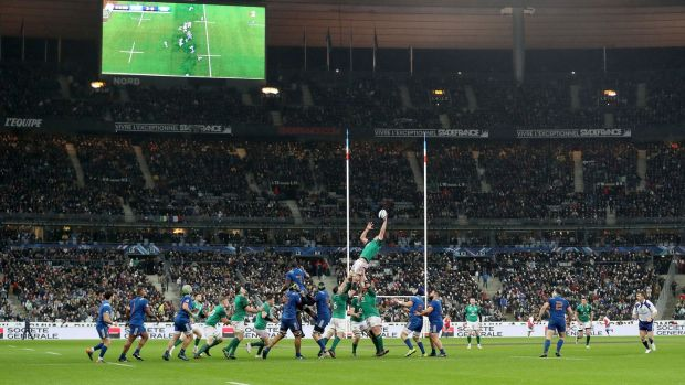 Peter O'Mahony wins a lineout at the Stade de France. Photograph: Dan Sheridan/Inpho