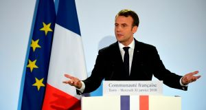 "French president Emmanuel Macron: UK might find a ""special way.  Photograph: Eric Feferberg/Getty"