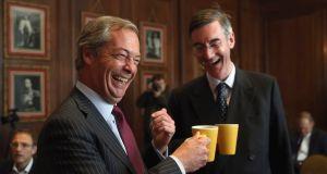 "Arch-Brexiteer Tory MP Jacob Rees-Mogg (right, with Ukip's Nigel Farage)  warned that the UK would, under the EU proposals, be a ""vassal state"" during any transition period. Photograph:  Dan Kitwood/Getty Images"