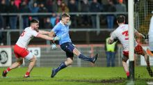 Dublin's Eoghan O'Gara scores their second goal against Tyrone. Photograph: Philip Magowan/Inpho